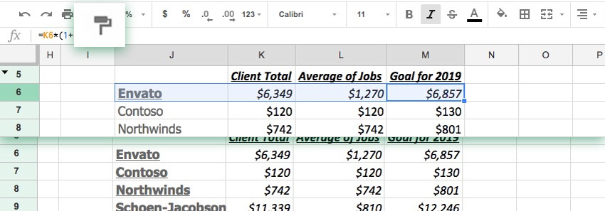 Copy formatting to other cells