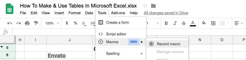 Macros for repetitive tasks in Google Tables